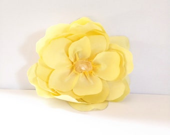 Yellow Magnolia Hair Flower Clip with Raw Natural Crystal // OOAK Hair Styling Accessories // Luxury Hair Products for Women