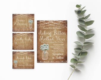 Wedding Invitation Printable Rustic- Printable Wedding Invitation Sets-Wedding Invitation Suite-Invitation Template Download-Wedding Invites