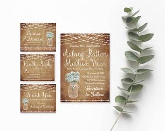 Wedding Invitation Printable Rustic- Printable Wedding Invitation Sets-Wedding Invitation Suite-Invitation Template Download-Wedding Invites