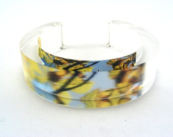 Autumn Leaves Chunky Bangle, Horse Chestnut Tree Branches Plexiglass Bracelet