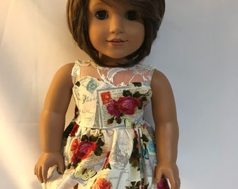 Paris Floral Dress with Lace Underlay 18 inch doll clothes