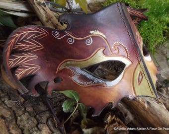Multicolored fantasy owl leather mask
