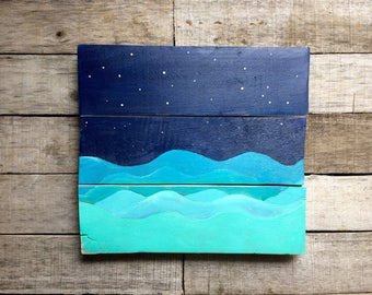 Ocean Painting on Reclaimed Wood Starry Night Ocean Reclaimed Wood Painting Art for Bedroom Nursery Art 10x11 Inches
