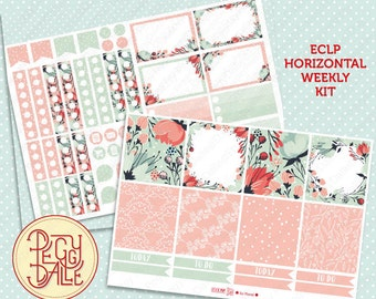So Floral Weekly Kit Planner Stickers | Erin Condren Horizontal | Wreath | pattern | Pastel | ECLP