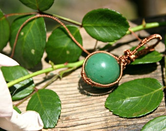 Jade Bead Copper Wire Wrapped Necklace