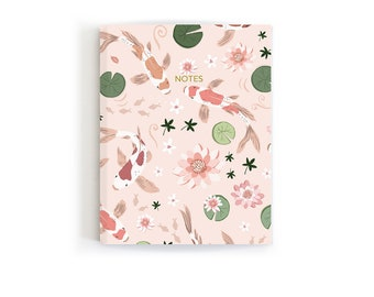 Pink Mini Notebook, Journal Jotter, Fish Stationery, Gift For Writers, Koi Fish Pond, Handmade Notebook, Back To School Gift, Pretty Journal