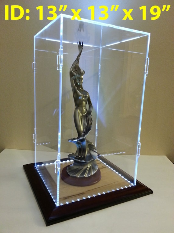Best 13 x 13 x 19 Inch Acrylic Display Case With LED Lighting for BZ58