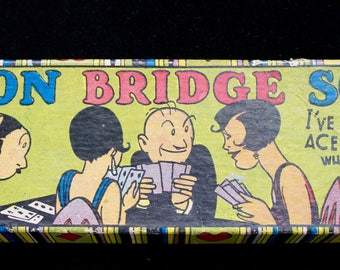 Vintage Bridge Score Pads, Cartoon, Original Box