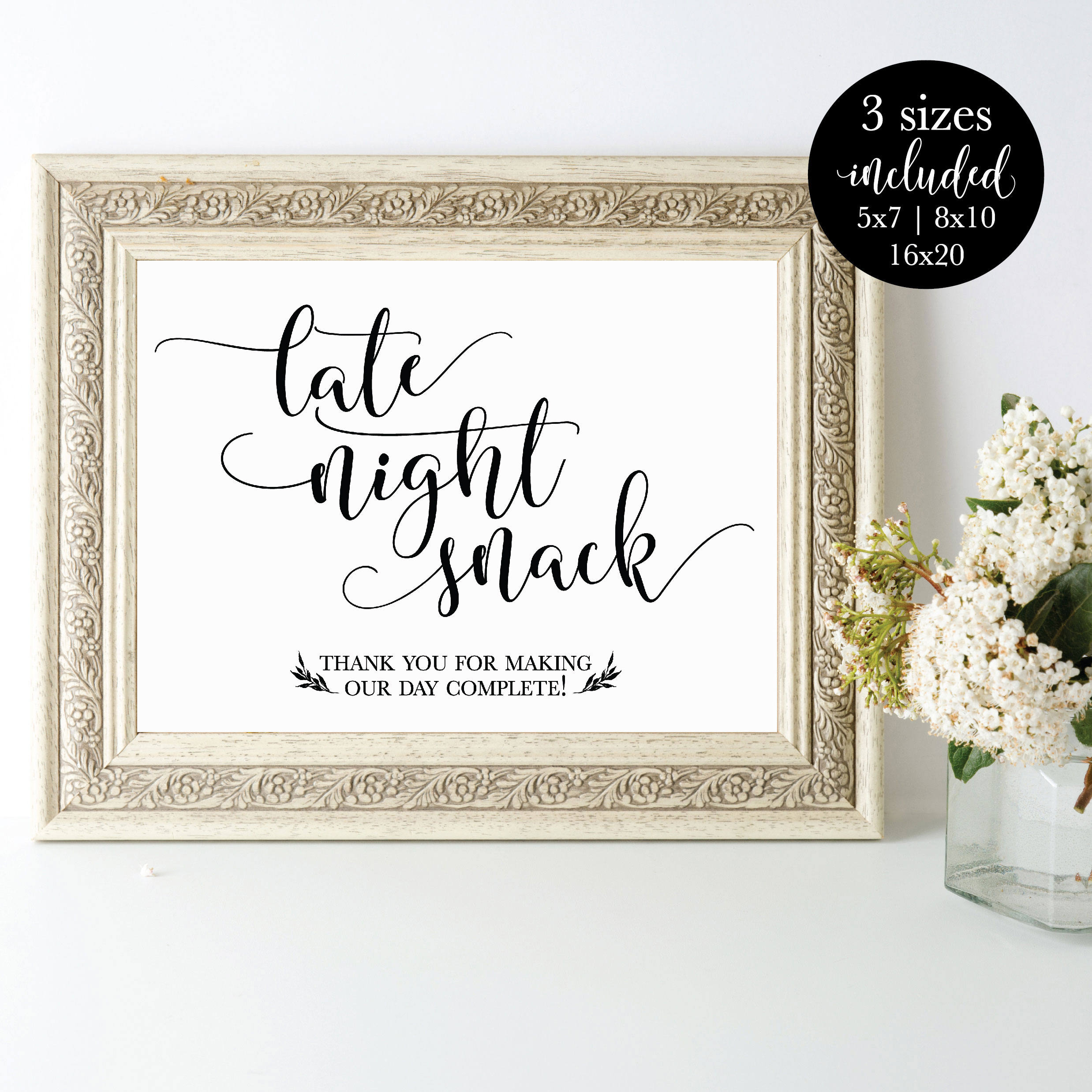 Late Night Snack Ideas For Weddings: Late Night Snack Printable Wedding Party Sign Rustic Food