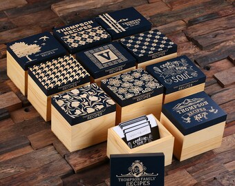 50 Recipe Cards Box Engraved with Dividers, Labels, Personalized Pen and Measuring Spoons (025327)