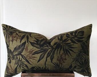 ROMA: Olive Barkcloth Palm Lumbar Pillow Cover 14x26 16x26