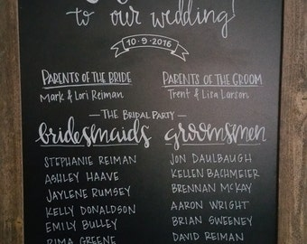 Large Custom Chalkboard - wedding party, seating chart, event chart, etc