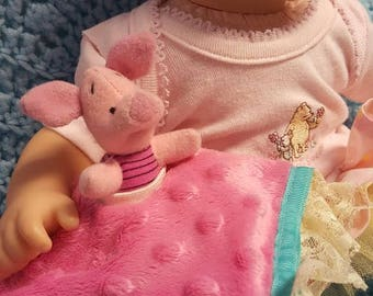 """15 inch baby doll or any size lovey blankie blanket """"Little Piglet Lovey"""" security blanket toy A9"""