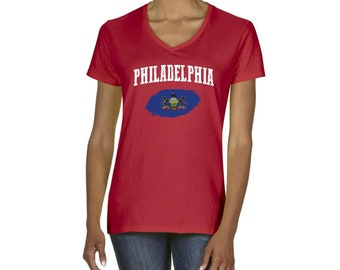 Philadelphia Pennsylvania Women V-Neck T-Shirt