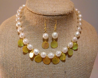 "White Baroque ""Pearls"" with Yellow-tinted Shell Disc Dangles Necklace & Earring Set"