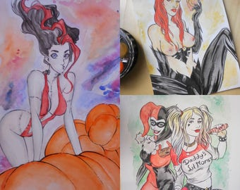Watercolour Painting A4 Art commission by boo rudetoons comics portrait avengers Xmen HarleyQuinn Deadpool free shipping batman