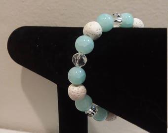 Glass and Lava Rock Aromatherapy Diffuser Bracelet