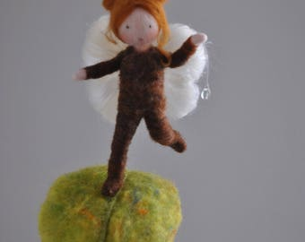 Little butterfly Fairy  Needle Felted wall hanging ornament   : Butterfly baby on leaf