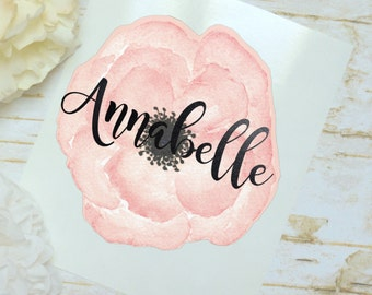 Pink Animone Decal, Flower Sticker, Tumbler Decal, Watercolor Flower Monogram, Printed Decal