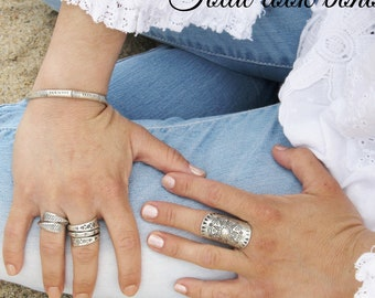 woman Berber Gypsy boho sterling silver rings