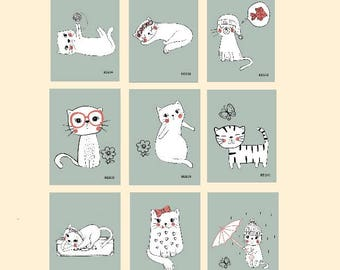 set of 9 cats,digital prints,cat prints,cartoon cats,cat illustrations,cat wall decor,nursery prints,cute cat prints,cat pictures,