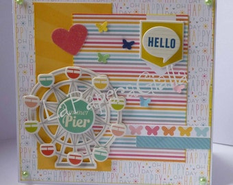 Hello - Handmade blank greeting card with with ferris wheel