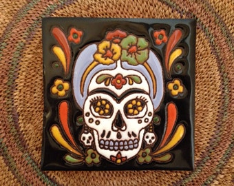Catrina Sugar Skull Mexican folk art 4x4 inch hand painted terra cotta tile