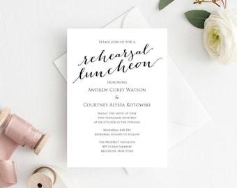 Rehearsal Luncheon Invitation Template, DIY Printing, Custom Personalized Lunch Invitation, Wedding Rehearsal Invitation Template