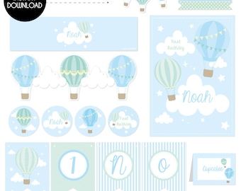 Hot air Balloon - Blue, Party Printable Set | Instant Download | Edit with Adobe Reader