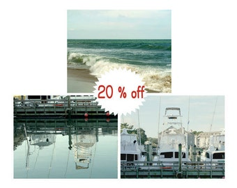 Beach wall decor photography prints, aqua teal coastal wall art set of 3 prints, fishing boat dock ocean pictures, bathroom art gift for him