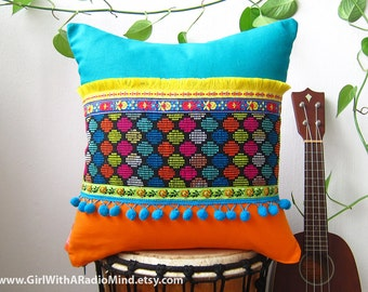 Accent Throw Pillows Boho Bohemian Colorful Rainbow Polka Dot - Multicolored Bohemian Cushions