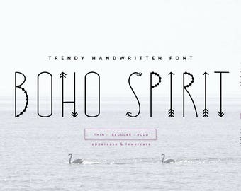 BOHO SPIRIT–bohemian handwritten font,bohemian script,bohemian typography,boho script,hipster font,hippie font,nature font,quotes font