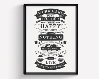 Work Hard Play Hard, Poster, Art Print, Typographic Print, Black & White, A3, Type, Typography Poster, Quote, House Rules, Motivational