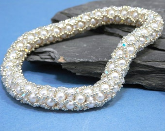 Tutorial for Netted Bracelet Bangle made with Crystals, Seed beads and Pearls Instant Download PDF Beading Pattern - perfect for weddings!