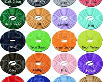 "2 pairs of Round Shoelaces 3/16"" Wide Solid Colors Several Lengths For Sneakers and Shoes"