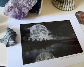 Moonscape, Moon, Print, A6, (With Border)