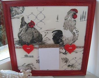 """frame """"reminder"""" country chic fabric hens coated"""