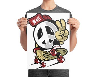 Peace Skater Dude on Photo paper poster
