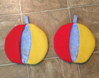 Cute set of 2 beach ball potholders hotpads oven or microwave with hangers . Handmade.