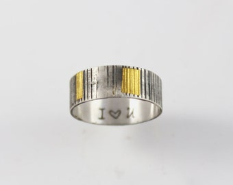 Personalized silver and gold wedding ring, unique mens wedding band, unisex Keum boo ring