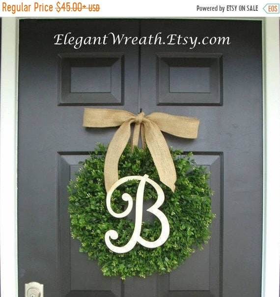 SPRING WREATH SALE Faux Boxwood Wreath, Monogram Wreath, Outdoor Door Wreath, Fall Wreaths, Year Round Wreath, Spring Wreath