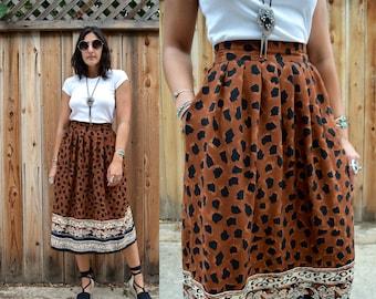 Vintage 80s Animal Print HIGH WAIST Skirt