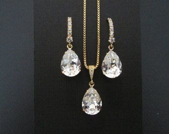 NEW Gold Crystal  Bridesmaid Jewelry Set/Swarovski Crystal/Bridesmaid Set/Swarovski Crystal Necklace/Swarovski  Earrings/Bridal Party