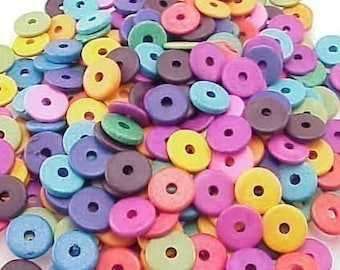 Greek Ceramic 13mm Disk Beads 2.6mm Hole Bright Mix 16048 Mixture Disc Beads, Narrow Beads, Spacer Beads, Large Hole Beads, Big Hole Beads