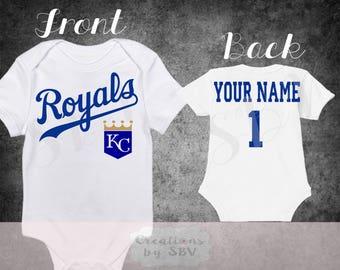 Kansas City Royals customize White baby bodysuit, Royals Baseball bodysuit, Royals Bodysuit
