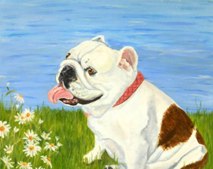 Custom Dog Portrait Painting, Large Oil Painting on Canvas from your photos, English Bulldog or any breed Gift Certificate
