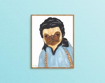 Pug Dog Lover Art Gift, Boyfriend Gifts Under 20, Funny Animal Art Print, Dog Lover Gifts For Men, Pet Lover Gift For Him, For Her, Pug Art