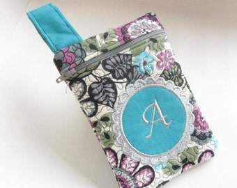 Women's Small Clutch Bag Passport Purse Quilted Monogrammed Custom Personalized grey pink teal
