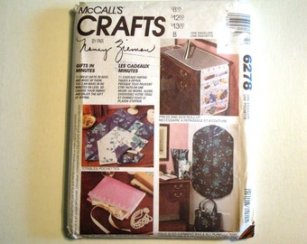 McCalls Crafts 6278 Pattern UNCUT by Nancy Zieman. Gifts in Minutes. 11 Great Gifts to Make & Give. Garment Bag, Lingerie Carry-all and more