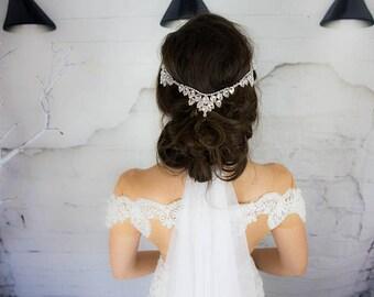 Bridal Hair Comb, Silver, Headpiece, Wedding Head Chain, Bridal Head piece, Crystal Hair Accessories, Hair Piece, bohemian